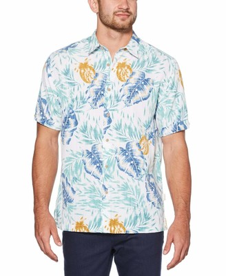 Cubavera Big & Tall Vintage Tropical Leaf Print Shirt