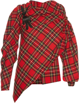 Awake Highlander asymmetric wool-blend tartan blouse