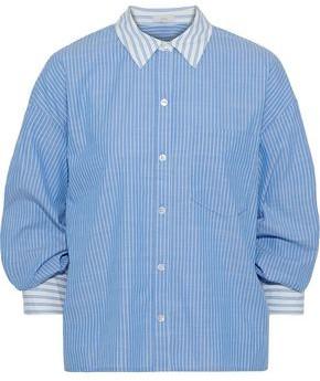 Joie Drusilla Gathered Pinstriped Cotton-broadcloth Shirt