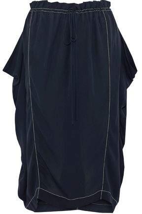 Stella McCartney Gathered Silk-Crepe Midi Skirt