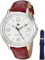Tommy Hilfiger Women's Quartz Stainless Steel and Leather Automatic Watch, Color: Red (Model: 1781709)
