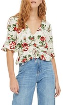 Topshop Petite Women's Rose Ruched Front Top