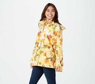 Isaac Mizrahi Live! Floral Printed Soft Rain Coat