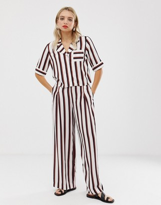 Monki wide leg trousers in black and pink stripe