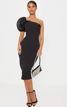 PrettyLittleThing Black Organza One Shoulder Puff Sleeve Midi Dress