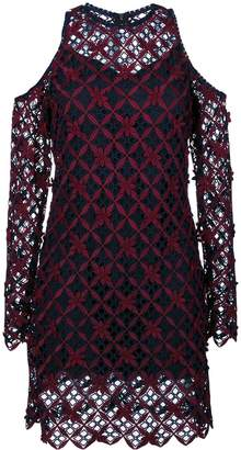 Self-Portrait floral grid cold-shoulder dress