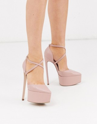 ASOS DESIGN Perplex pointed platform stiletto heels in beige