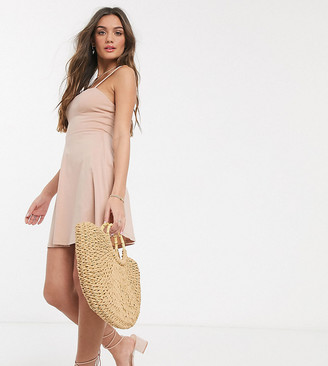 ASOS DESIGN Petite mini square neck sundress with cup seams in nude