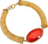 One Kings Lane Vintage Victorian Ruby Glass & Mesh Bracelet