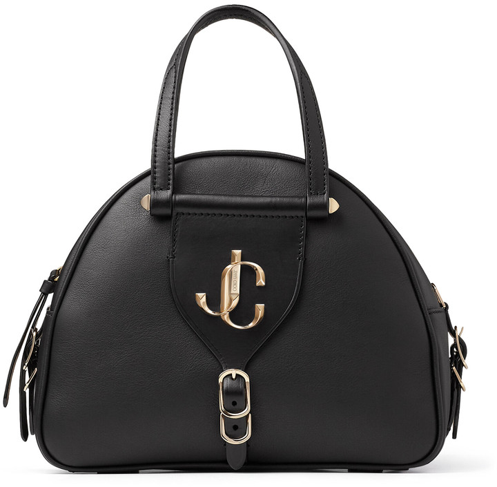 Jimmy Choo VARENNE BOWLING/S Black Calf and Vacchetta Leather Bowling Bag with Gold JC Logo