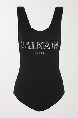 Balmain Appliqued Cotton-jersey Bodysuit - Black