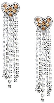 Fallon Rhodium Plated Cubic Zirconia Heart Chandelier Drop Earrings