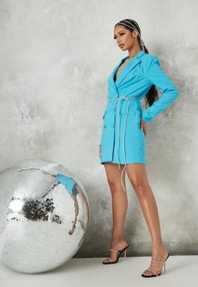 Missguided Teal Diamante Belt Blazer Dress