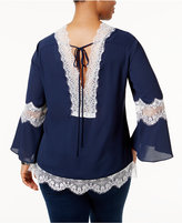 NY Collection Plus Size Lace-Inset Tunic