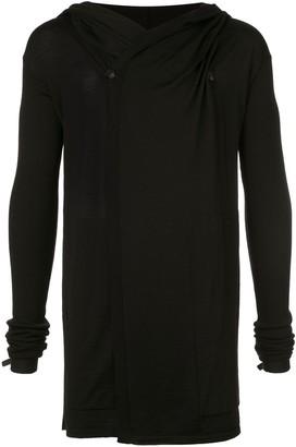 Rick Owens wool drape hooded sweater