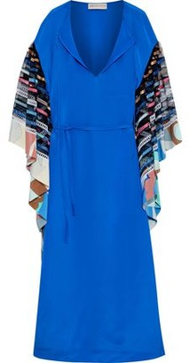 Emilio Pucci Embellished Tulle-paneled Crepe De Chine Maxi Dress