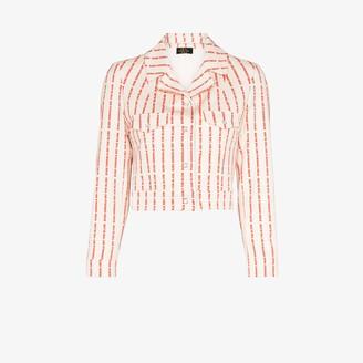 De La Vali Even Cowgirls striped text jacket