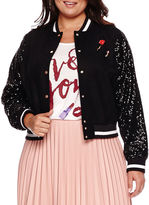 Boutique + Ashley Nell Tipton for Boutique+ Sequin-Sleeve Bomber Jacket - Plus