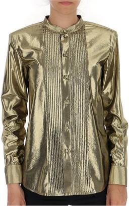 Saint Laurent Metallic Pleated Detail Blouse