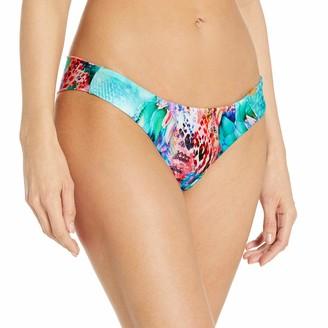 Luli Fama Women's Gorgeous Chaos Water Tab Ruched Back Brazilian Bikini Bottom