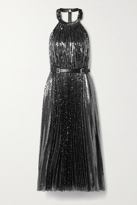 Michael Kors Collection Leather-trimmed Pleated Sequined Tulle Halterneck Midi Dress - Charcoal