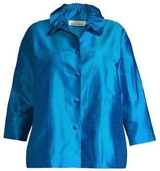 Caroline Rose, Plus Size Silk Button-Front Shirt