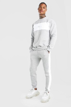 boohoo Mens Grey Man Signature Colour Block jumper Tracksuit, Grey