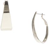 Carole Silvertone Asymmetrical Hoop Earrings