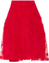 Simone Rocha Embroidered Tulle Midi Skirt - UK8
