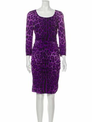 Dolce & Gabbana Silk Knee-Length Dress Purple