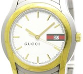 Gucci 5500XL Stainless Steel / Gold Plated White Dial Quartz 38mm Mens Watch