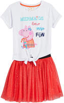 Peppa Pig Nickelodeon's 2-Pc. Mermaid T-Shirt & Glitter-Skirt Set, Little Girls