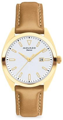 Movado Heritage Datron Yellow Goldplated Stainless Steel & Leather Strap Watch