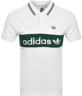 adidas Stripe Polo T Shirt White