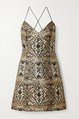 Alice + Olivia Tayla Metallic Brocade Mini Dress - Gold