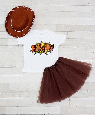 Dress Up Dreams Boutique Girls' Tee Shirts Brown/White - Brown & White 'Thanksgiving' Tutu Set - Toddler & Girls