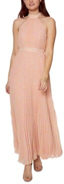 Betsey Johnson Pleated Animal-Print Maxi Dress