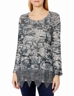 One World ONEWORLD Women's Long Sleeve Textured Knit Top with Lace Hem