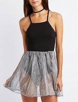 Charlotte Russe Bib Neck Tulle Overlay Dress