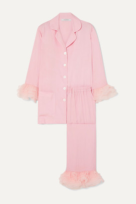 Sleeper Arlekino Ruffled Chiffon-trimmed Crepe De Chine Pajama Set - Pink