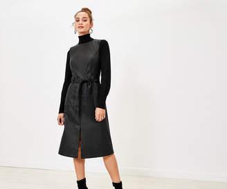 Oasis Faux Leather Midi Dress