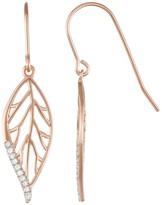14k Rose Gold Over Silver 1/10 Carat T.W. Diamond Openwork Leaf Drop Earrings