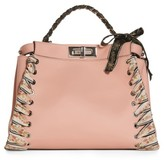 Fendi Medium Peekaboo Whipstitched Leather Satchel - Pink