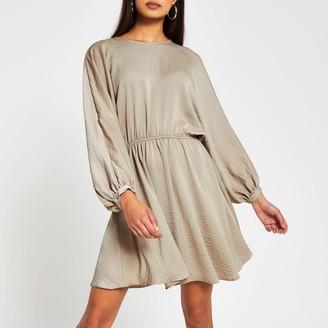 River Island Womens Beige long sleeve drawstring waist mini dress