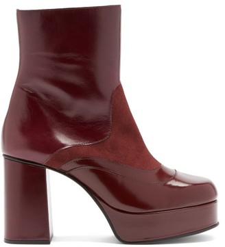 See by Chloe Suede-panel Platform Leather Ankle Boots - Burgundy