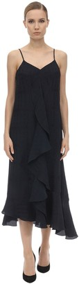 Victoria Beckham Textured Ruffled Viscose Midi Dress