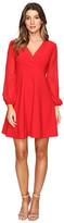 Taylor Stretch Crepe w/ Chiffon Sleeve Dress