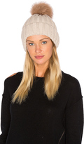 Jocelyn Dyed Blue Fox Pom Knit Hat