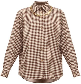 Burberry Chain-trim Gingham Cotton-flannel Shirt - Brown Print