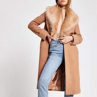River Island Beige faux fur collar longline coat